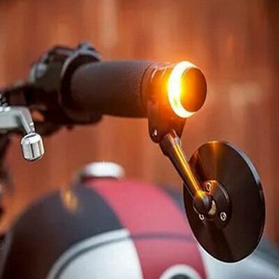 Led Motorcycle Handlebar End Turn Signal Light Yellow Indicator Flasher Lamp Bar