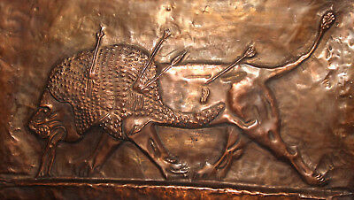 Antique Hand Made Copper Hunting Wall Decor Plaque Dying Lion