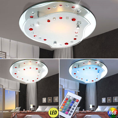 RGB Led Ceiling Lights Chrome Kitchen Remote Control Mirror Glass Colour Chaning