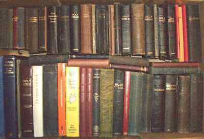 Joblot of 55 assorted old used & vintage Bibles, hymn books, Christian books etc