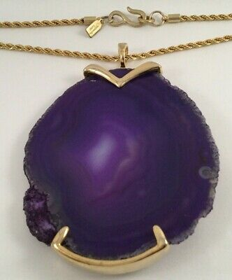 Vintage Kenneth Lane Jewellery Large Amethyst Slice Pendant Gold Chain Necklace