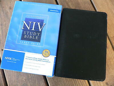NIV STUDY BIBLE, 2002, Burgundy Bonded Leather, Red Letter, by