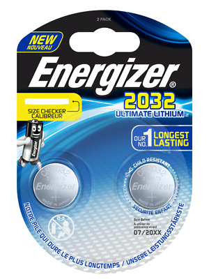 Energizer CR2032 Ultimate Lithium 3V Button Cell Long Lasting 2 pack Expiry 2025