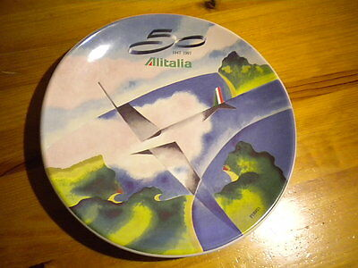 PLATE 50TH ANNIVERSARY CERAMIC AIRLINE ALITALIA. Numbered.DISH.PERUZZI.SOUVENIR.