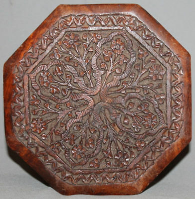 Antique Wood Hand Made Ornate Engraved Jewellery Box