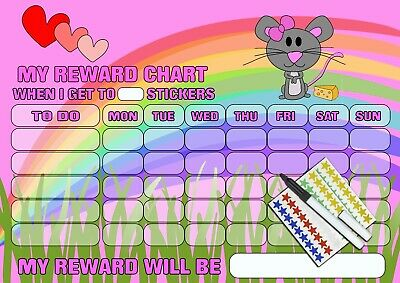 Pink Rainbow Mouse reusable wipable sticker reward chart for kids girls MAGNETIC