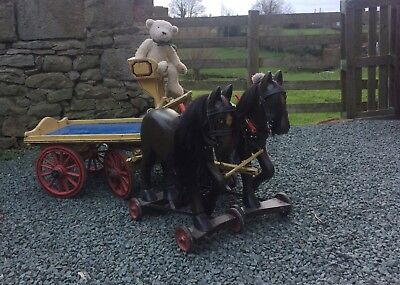 Antique Horse Cart With 2 Wooden Horses For Doll Bear Free Worldwide Shipping