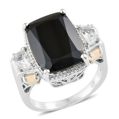 Multi Row Black Spinel Gemstone 925 Silver Bypass Open Wrap Women Wedding Ring
