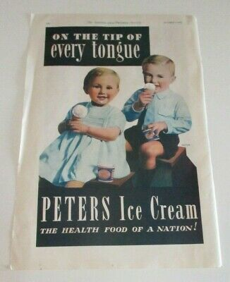 Vintage Peters Ice Cream Print Advertisement - Colour Poster to Frame - 1935