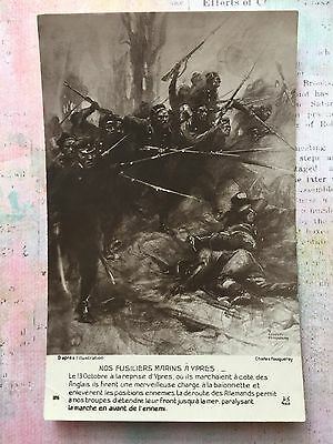 WW1 Art Fouqueray WWI France Soldiers War Army French original Old Postcard