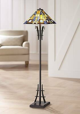 Asian Floor Lamp Bronze Iron Tiffany Style Stained Glass for Living Room Reading