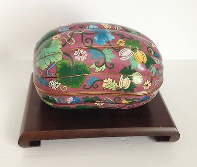 RARE Large ~2.95 Pounds~ Fine Republic Chinese Melon Gourd Cloisonne Box ~Stand~