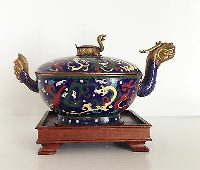 "RARE 8"" Turtle Dragon ~Old Vintage Ornate Chinese Cloisonne ~Lidded Box ~Stand"