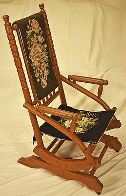 """Vintage Rocking Chair - 41"""" high x 22"""" wide with needle point backrest & seat"""
