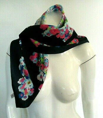 Vintage Womens Navy Blue Floral Print Square Scarf Made In Italy Polyester 1970s