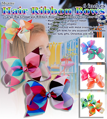 3c6a60b94153b 12 pcs Rainbows Ribbon Boutique Hair Bow Clips For Baby Girls Kids and  Toddlers