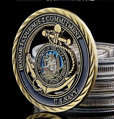 U.S. Navy USN | Core Value - Honor Courage Commitment | Bronze Plated Coin