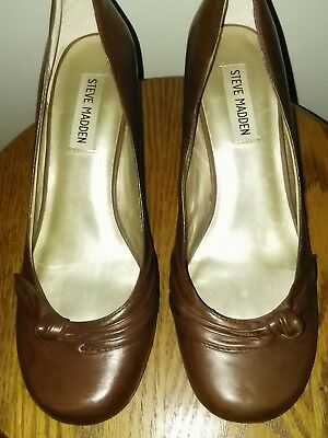 c1c98d8f16f STEVE MADDEN BROWN Oxford Heels Pumps Size 7.5 M Open Toe Sling Back ...