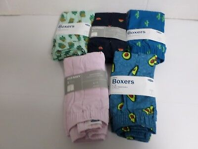 Old Navy Men's LARGE  {36-38} Lot Of 5 Pairs OF BOXERS 100% Cotton NWT
