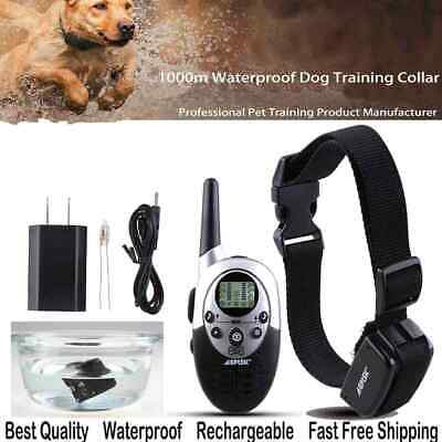 1000 Yard Waterproof Rechargeable Electric Remote Pet Dog Shock Training Collar