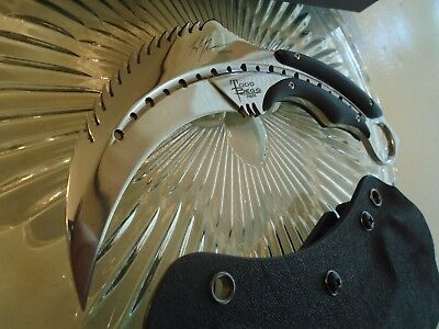 Mirror Chrome Karambit Claw Dagger Combat Knife G10 Kydex Full Tang 440C 8 1/4""