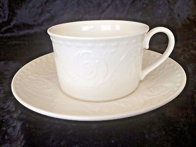 Mikasa Plaza Lane Coffee Tea Cup Saucer All White Scroll Embossed Rim Cup DE900