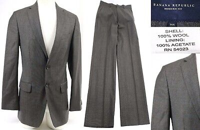 Banana Republic Men's $600 Suit Modern Fit Size 36R Taupe Excellent 30 X 30