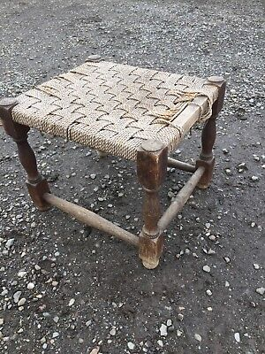 Vintage Traditional Fireside Stool Old String Seat Needs Replacing  21/1/X