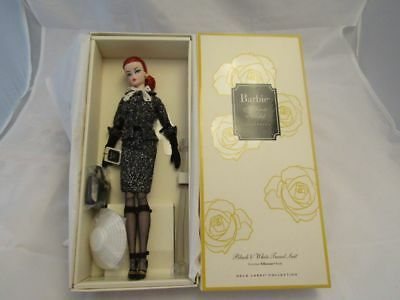 Barbie Silkstone Doll With Black And White Tweed Suit And Accessories Gold Label