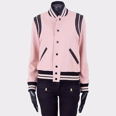 88be89b1b09 SAINT LAURENT PARIS 2550$ Faded Rose Leather Trimmed Wool Blend Teddy Jacket