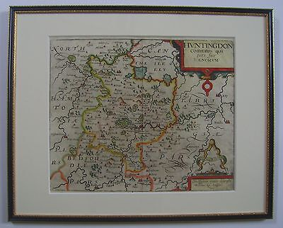 Huntingdonshire: antique map by Saxton and Kip, 1610 or 1637
