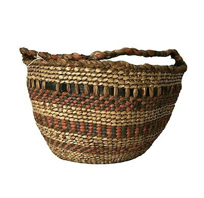 "Rare Antique Quinault Gathering Basket NW Tribal Red Cedar 8.5"" ca: 1910-1920"