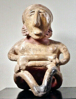 Pre-Columbian Seated Figure Jalisco  W/Coa