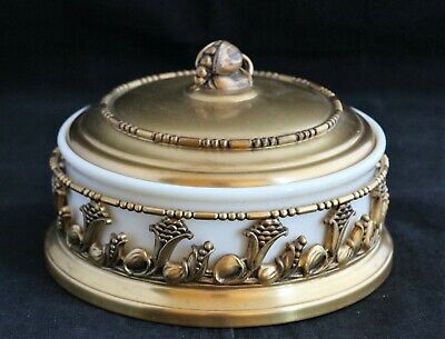 Antique Lenox Porcelain Apollo Brass Jewelry Or Candy Box 4921
