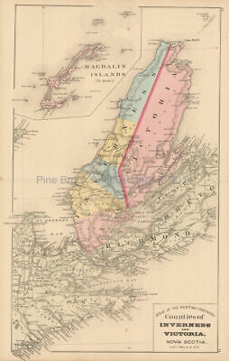 Inverness Victoria County NS Antique Map Roe 1878 Authentic Canadian Decor Gift