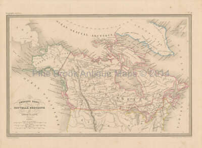Canada Alaska Antique Map Malte Brun 1850 Original