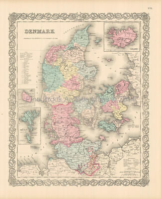 Denmark Iceland Antique Map Colton 1855 Original Danish Decor Ancestry Gift