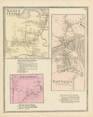 Saugus Center Massachusetts Antique Map Beers 1872 Original Essex County Gift
