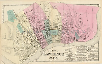 North Lawrence Massachusetts Antique Map Beers 1872 Original Essex County Gift