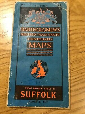 Bartholomews Revised Half-Inch Contoured Cloth Map 21 Suffolk 1960
