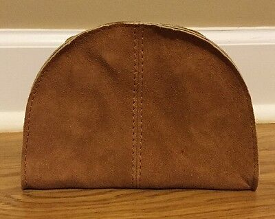 NEW Pottery Barn Mila Suede Travel Toiletry Case BROWN