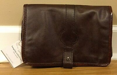 NEW Pottery Barn Saddle Leather & Canvas Hanging Toiletry Case