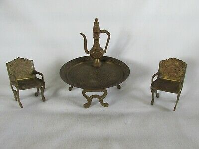 Vintage Doll House Furniture, Brass, Table, 2 Chairs, Teapot, Patio Set