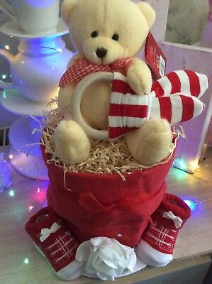Nappy Cake Pregnancy Mum To Be Baby Gift With Cute Teddy