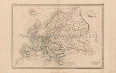 Europe Antique Map Malte Brun 1850 Original