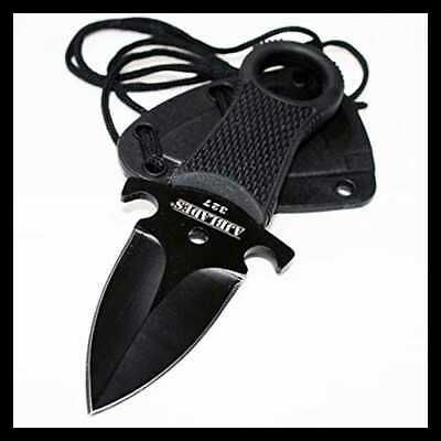 Tactical BLACK Full Tang Neck Knife Fixed Blade Military Dagger Sheath AJ327