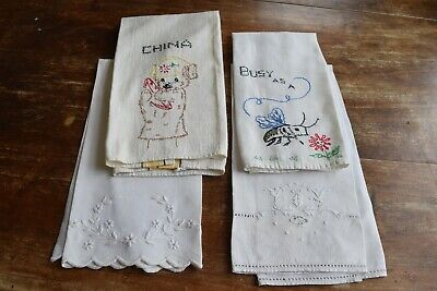 Vintage embroidered hand or kitchen towels - lot of four