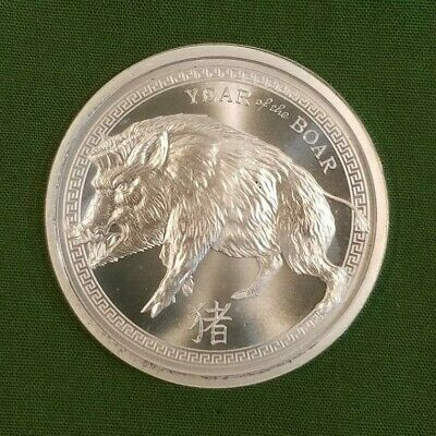 2019 Chinese Year of the Boar 1oz. .999 Fine Silver Bullion Round