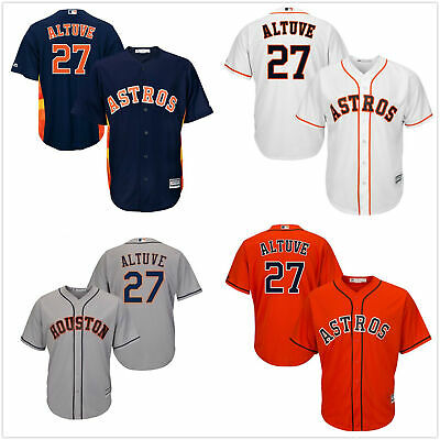 6e4dbd9c2 Men s  27 Jose Altuve Houston Astros Cool Base Jersey White Navy Orange