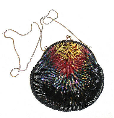 Du-Val Hand Made Multi-colour Beaded Bag Purse with Silvertone Serpentine Handle